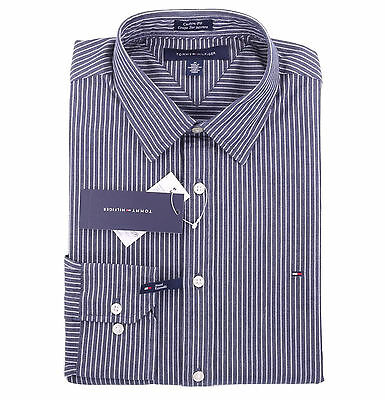 Tommy Hilfiger Men Long Sleeve Button Down Custom Fit Casual Shirt - $0 Ship