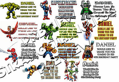 Super Hero Squad Marvel Personalised Kids Party Stickers Sheets of 12's or 24's