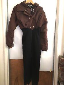 Vintage-80s-90s-Nils-Sportswear-Women-s-Brwn-Black-Zipper-Snowsuit-stirrups-8-L1