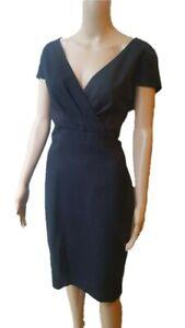 Hobbs-classy-100-wool-V-neck-cap-sleeved-blue-dress-UK-AU16-IT48-F-B44-US12-D42