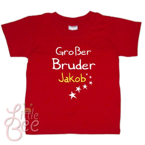 T-Shirt m.Aufdruck Großer Bruder Wunschname Wahl Größe,Farbe ab 86//92 MOTIV