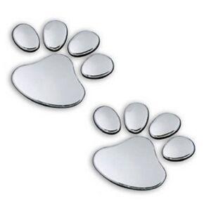 Details Zu 3d Aufkleber Pfoten Chrom Silber Auto Sticker Katze Hund Tatzen Pfote Emblem