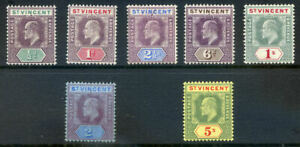 St. Vincent Edward 7th wmk. Multiple Crown CA set to 5sh mint (2020/05/11#05)