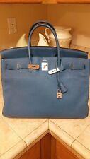 Hermes Birkin 40 Blue de Galice PHW P stamp Gorgeous Bag Togo Phenomenal Skin!!