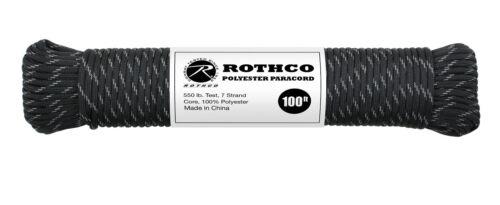Noir Avec Réflecteurs 550 LB environ 249.48 kg 7 Brin 100/% polyester TYPE III Paracord Corde 100/'