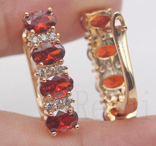 18K Gold filled-quatre Ovale Rubis Zircon Bande Gemstone Parti multicouche Boucles d/'oreilles