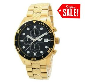 NEW-EMPORIO-ARMANI-AR5857-GOLD-STAINLESS-STEEL-CHRONOGRAPH-MEN-039-S-WATCH-HIM-GIFT