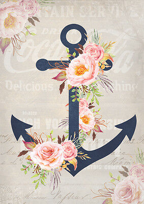 Get 1 FREE! Buy 2 Shabby Chic Anchor /& Rose 8x10 Craft or Quilt Fabric Block