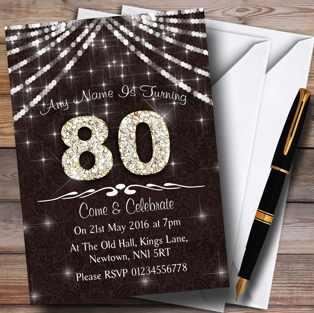 80E Marron  & Blanc  birthday Bling Sparkle birthday  party invitations personnalisées fea6ee
