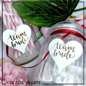 Equipe-Bride-Heart-Stickers-Foil-Metallic-Gold-Silver-Or-Rose-Or-etiquettes-x-24