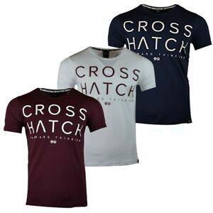 New-Men-039-s-Crosshatch-Designer-Crew-Neck-Short-Sleeve-T-shirt-S-XXL