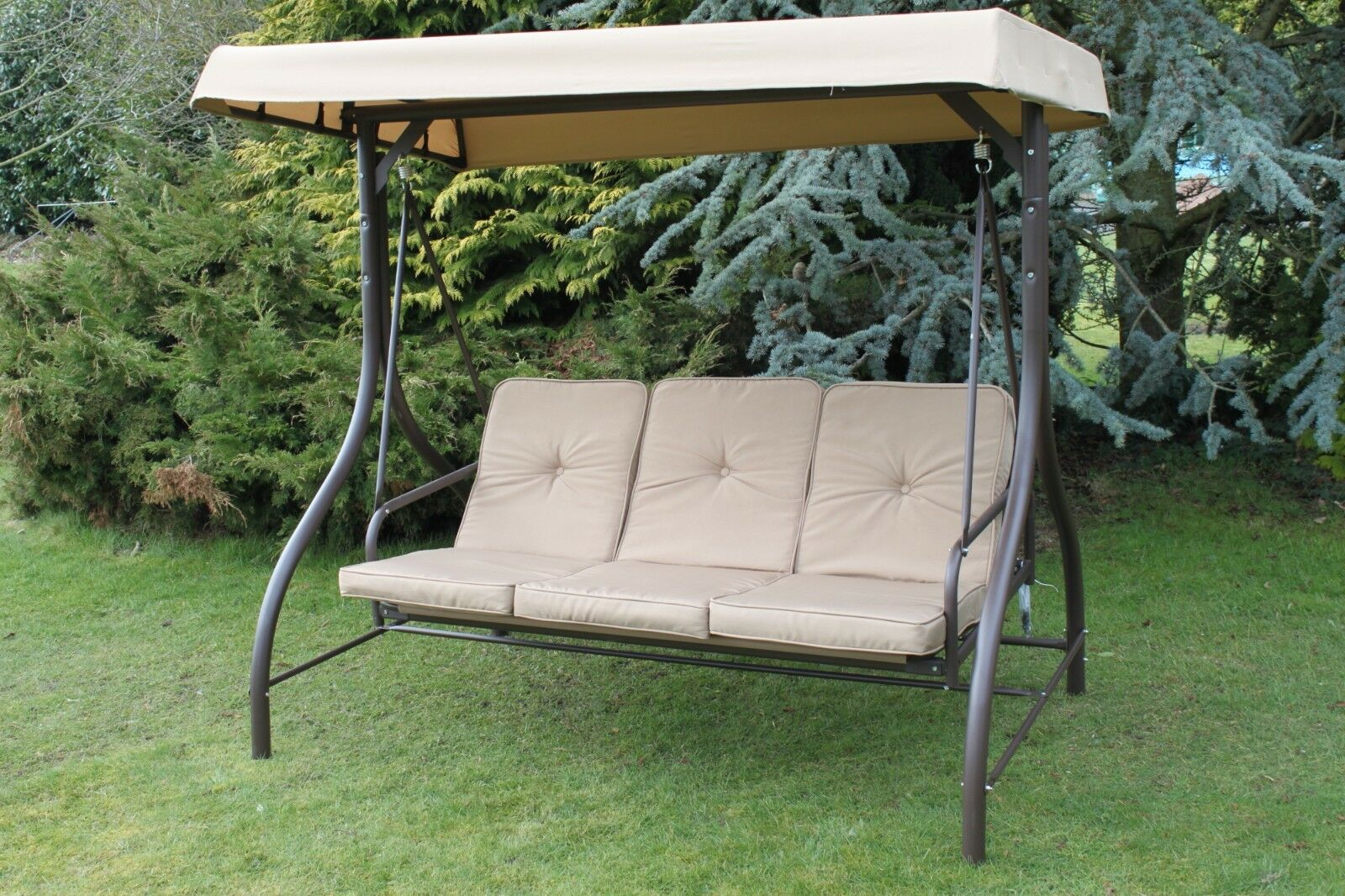 Picture of: Alfresia Reclining Garden Swing Seat For 3 With Luxury Cushions Blue Check For Sale Ebay