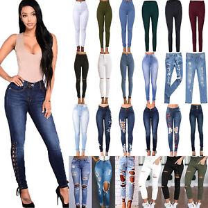 Damen-High-Waist-Stretch-Jeans-Hose-Roehre-Damenjeans-Roehrenjeans-Slim-Jeggings