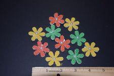 30  BURLAP DAISY FLOWERS CRAFTS SCRAPBOOKING EMBELLISHMENTS YELLOW GREEN ORANGE