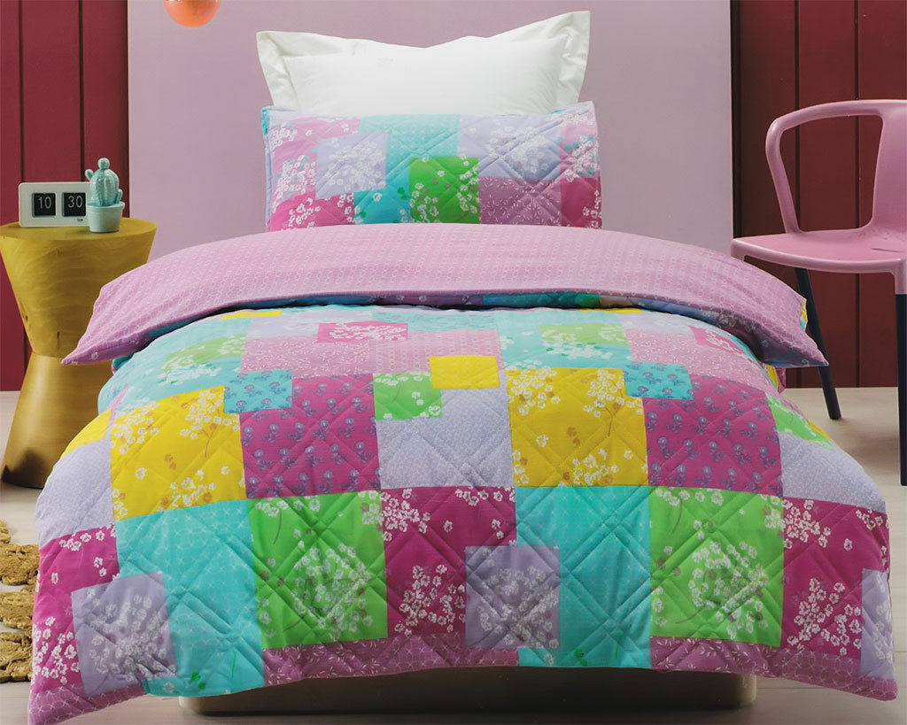 Jiggle & Giggle Bella Patchwork Quilted Quilt Doona Cover Set 3 Pcs Double Queen
