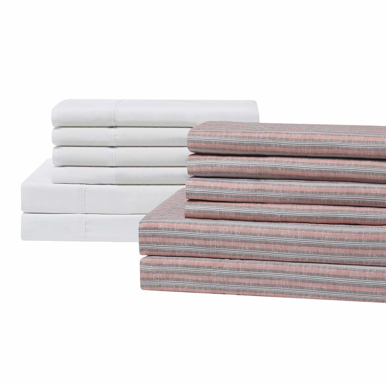 Brooklyn Loom 12-Piece Sheet Sets in Retro Stripe White, Cal King