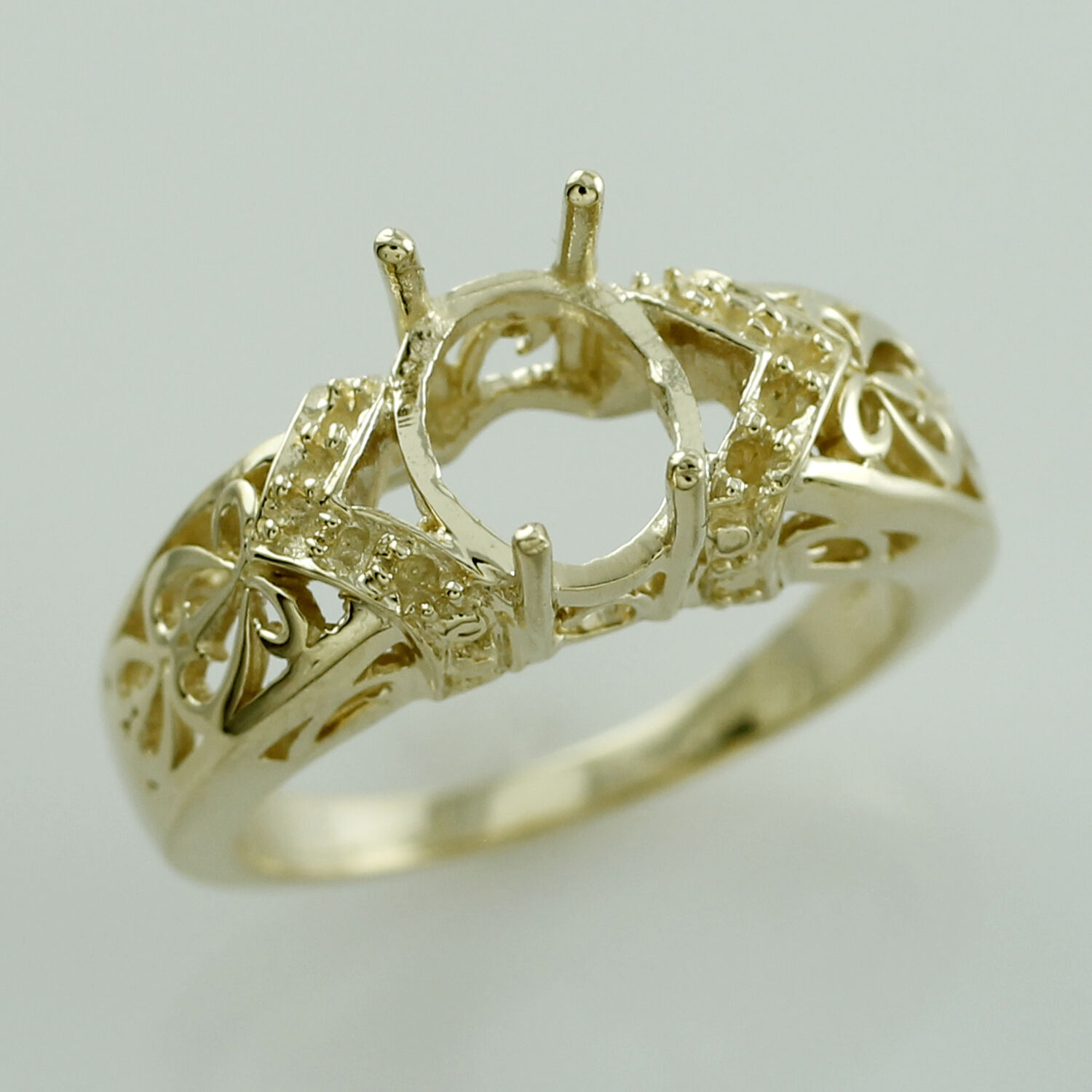 Semi Mount Ring Oval Shape 7x9 MM Natural gold Authentic Lady Amazing Jewelry