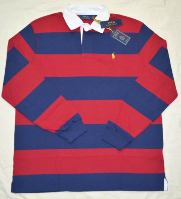 49266fa5862 New Medium M POLO RALPH LAUREN Mens Iconic Rugby Shirt Classic Fit Red Navy  blue