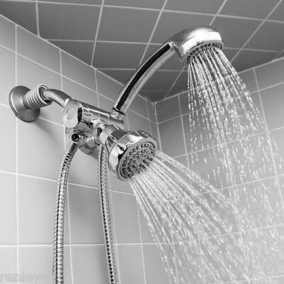 Chrome Shower Head And Massager Set Stainless Steel Hose Mount Diverter Modern