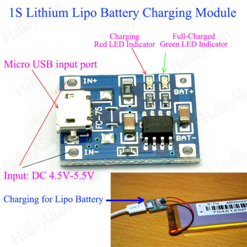 Mini Lithium Lipo Battery Power Charging Board Micdro Charger Module 5V USB 1A