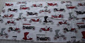 75741-large-piece-antique-1950-039-s-cotton-fabric-white-with-Antique-cars