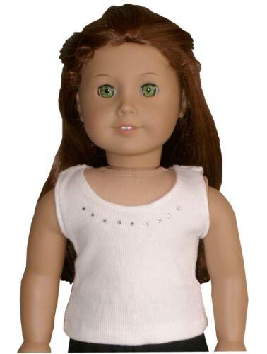 "White or Black Rhinestone Tank Top Tee fits 18/"" American Girl Size Doll"