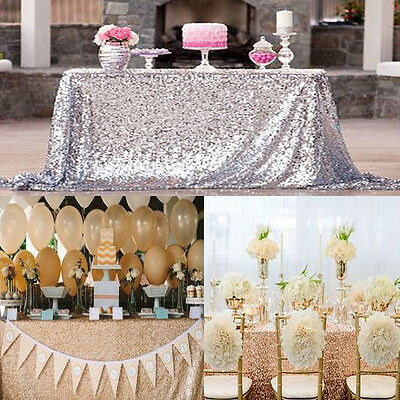 "New Sparkly Sequin Tablecloth 40"" X59'' Square For Wedding/ Dessert Table Decor"