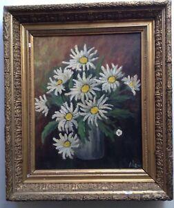 Beau-Tableau-ancien-Impressionniste-Bouquet-de-Marguerites-Huile-sur-Toile-Signe