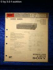 Sony Service Manual TA AV480 Amplifier  (#0645)