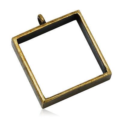 10pcs 25*25mm Square Open Back Bezel Pendant for Pressed Flower, Bezel Necklace