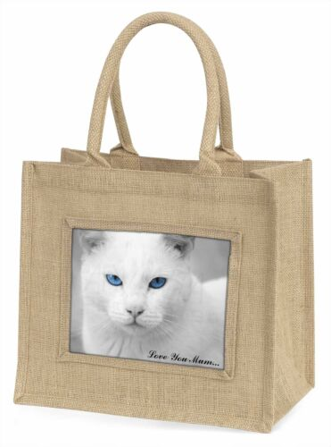 White Cat 'Love You Mum' Large Natural Jute Shopping Bag Christmas G, AC6lymBLN