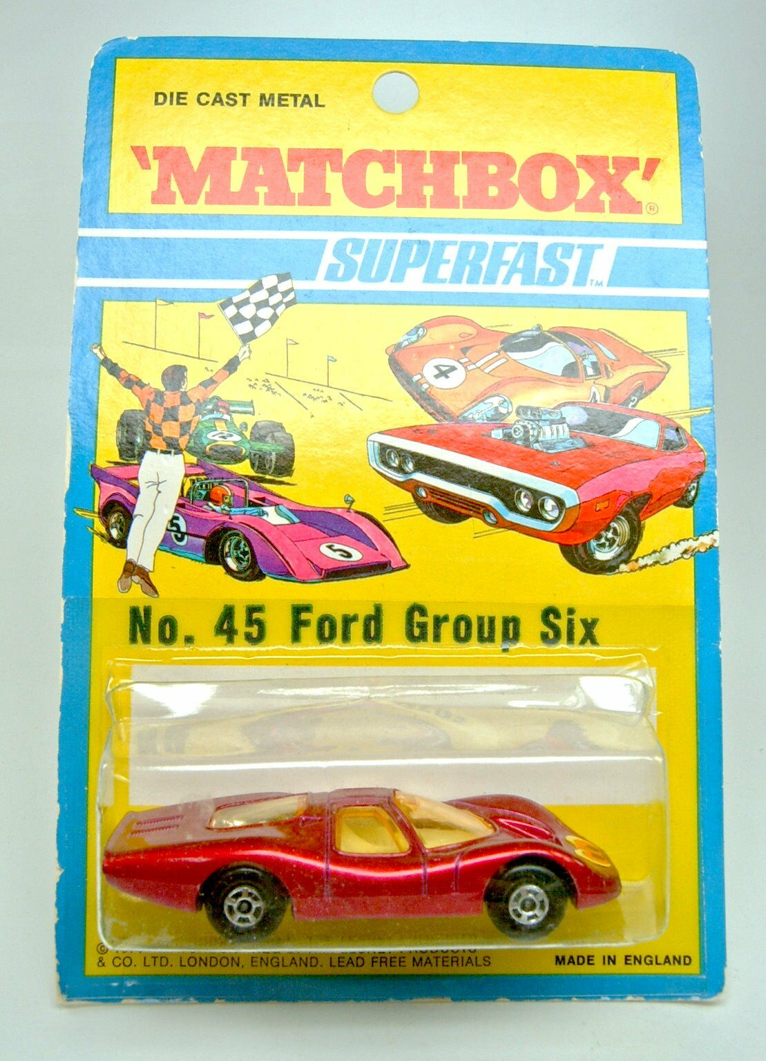 Matchbox Superfast No.45A Ford Group 6 met. red  Eyes  label mint