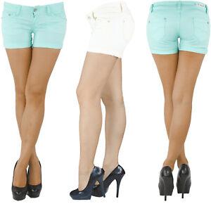 Damen-Hotpants-Hot-Pants-Jeans-Shorts-Kurze-Hose-Capri-Hueft-Stretch-Weiss-Blau