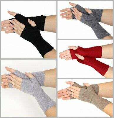 prettystern mid-lange Kaschmir Pulsw/ärmer Arm-Stulpe fingerlose Ripp-Strick Handschuhe