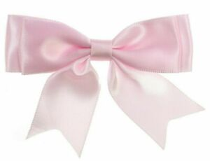 Baby-Pink-Large-25mm-Satin-Ribbon-Ready-Made-Craft-Double-Bows-Pack-of-5