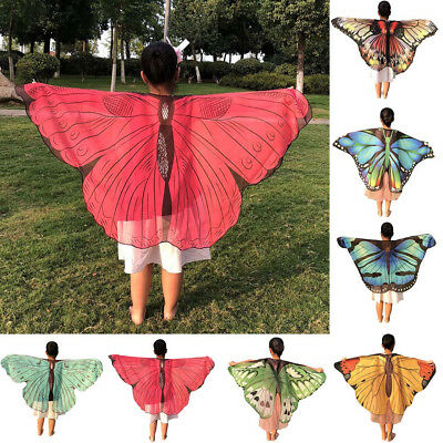 Children Kid Butterfly Print Wings Shawl Scarves Poncho Costume Colorful Coverup