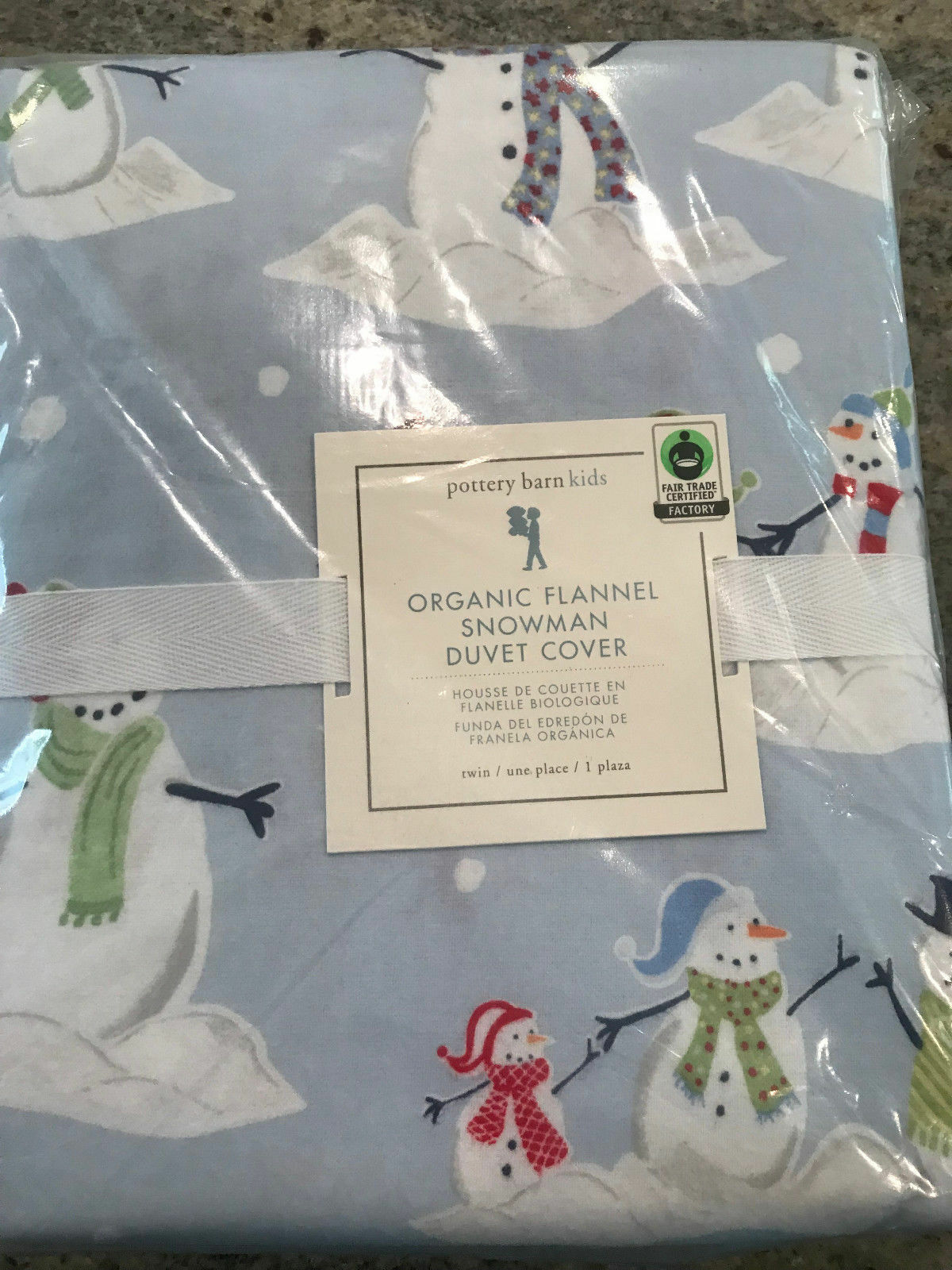 Pottery Barn Kids Organic Flannel Snowman Twin Duvet Cover New bleu Holiday