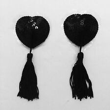 MEBYME Sexy Reusable Nipple Cover Adhesive Heart Sequin Tassels Pasties Black