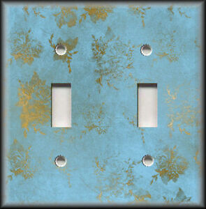 Metal Light Switch Covers Vintage Design Decor Blue With Gold