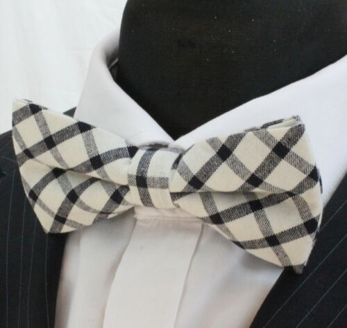 Premium Quality Off White with Black Check Pre-Tied BV17 Bow Tie
