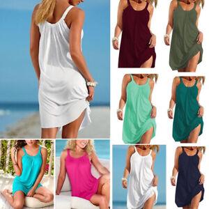US-Women-Holiday-Beach-Bikini-Cover-Up-Boho-Casual-Party-Sun-Mini-Dress-Sundress