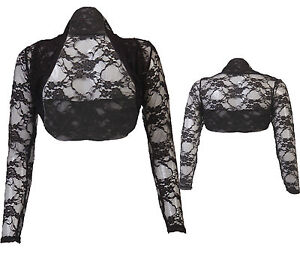 JUSTYOUROUTFIT-Womens-Cropped-Lace-Bolero-Shrug-black-size-8-to-24