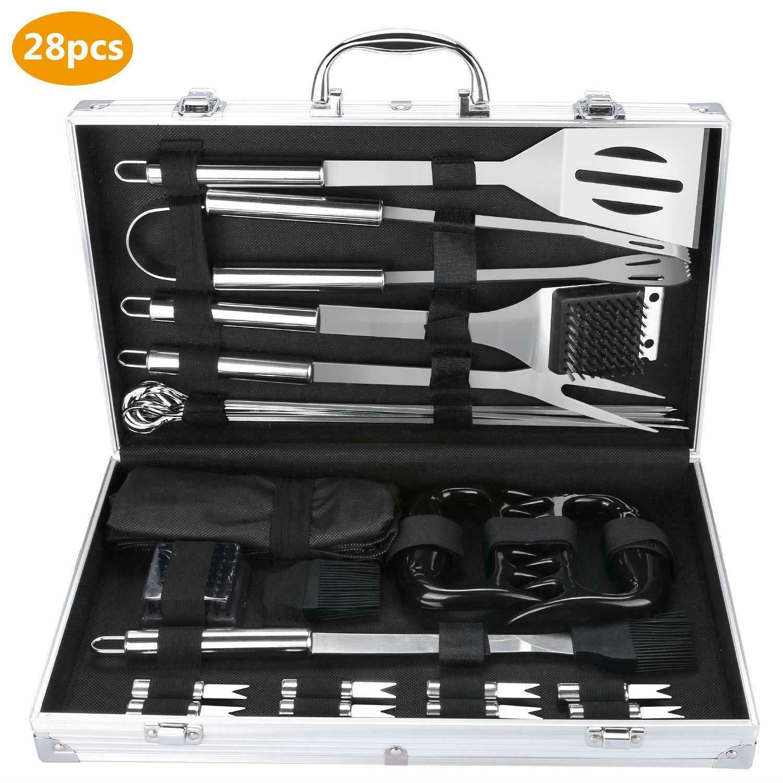 28Pcs juegos de herramientas de cocina de acero inoxidable barbacoa parrilla Kit de herramientas