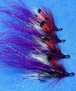 4 Quality Size 10 Double Red Allys Shrimp Salmon Sea Trout Salmon Flies
