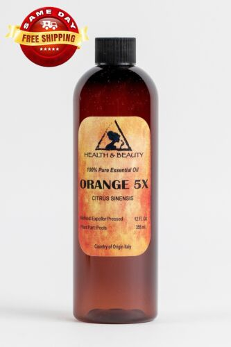 ORANGE 5X ESSENTIAL OIL ORGANIC by H&B Oils Center 100% AROMATHERAPY PURE 12 OZ