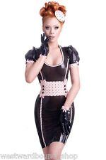 R1723 Latex Gummi DRESS UK 8 £239 RRP WESTWARD BOUND *BLK/BABY PINK* Seconds