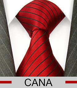 84280 LORENZO CANA rote Seidenkrawatte Krawatte Seide mit Schwarzen Streifen