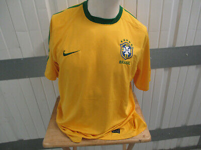 pretty nice 8fbda 225ea VINTAGE NIKE BRAZIL NATIONAL SOCCER FOOTBALL TEAM SEWN XL YELLOW JERSEY  2010-11 | eBay
