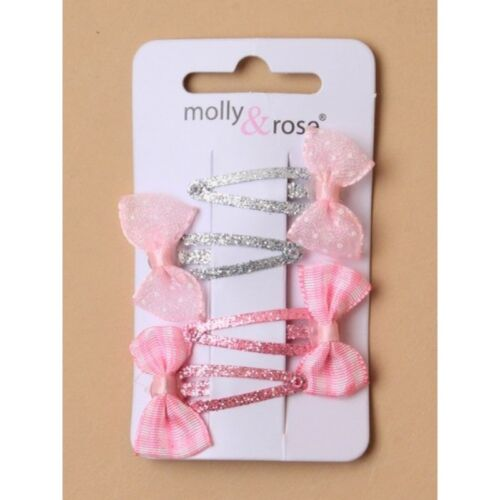 P 4 X PINK AND SILVER  SLEEPIES WITH BOWS ON A CARD GIRLS//LADIES