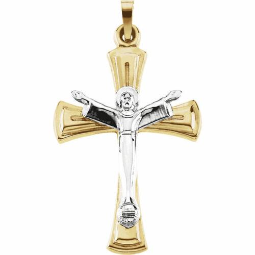 Risen Christ Crucifix Pendant In 14K Yellow//White Gold